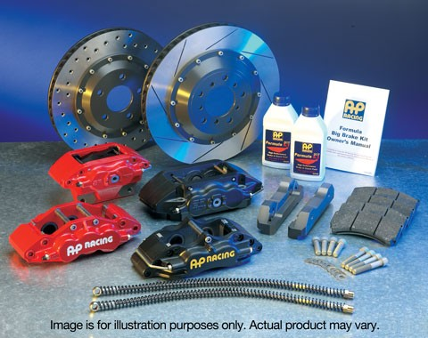 Subaru Impreza WRX STI Front AP RACING Brake Kit GF8 Grooved Discs Black 17a