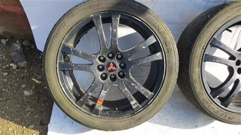 RALLYART MITSUBISHI GALANT 5x114.3 ALLOY WHEELS AND TWO TYRES
