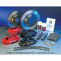 Subaru Impreza WRX STI Front AP RACING Brake Kit GF8 Grooved Discs Red 17a