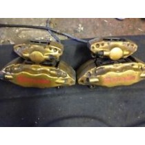 SUBARU IMPREZA WRX STI BREMBO GOLD CALIPERS FRONT AND REAR COMPLETE SET