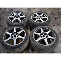 MITSUBISHI LANCER EVO ENKEI 17 ALLOY WHEELS WITH TYRES COMPLETE