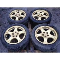SUBARU IMPREZA 16 GOLD ALLOY WHEELS WITH TYRES COMPLETE JDM