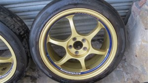 GENUINE ADVAN RACING RG1 GOLD 5x100 ALLOY WHEELS WITH TYRES